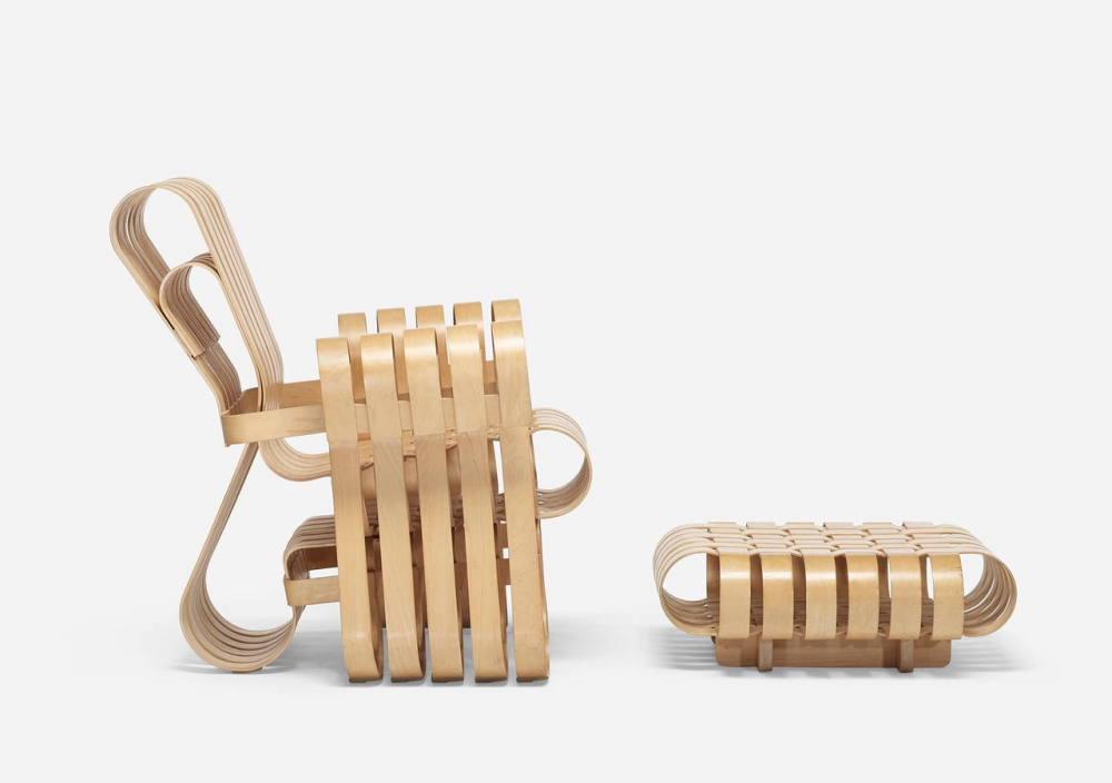 POWER PLAY™ CHAIR AND OTTOMAN BY FRANK GEHRY 1990